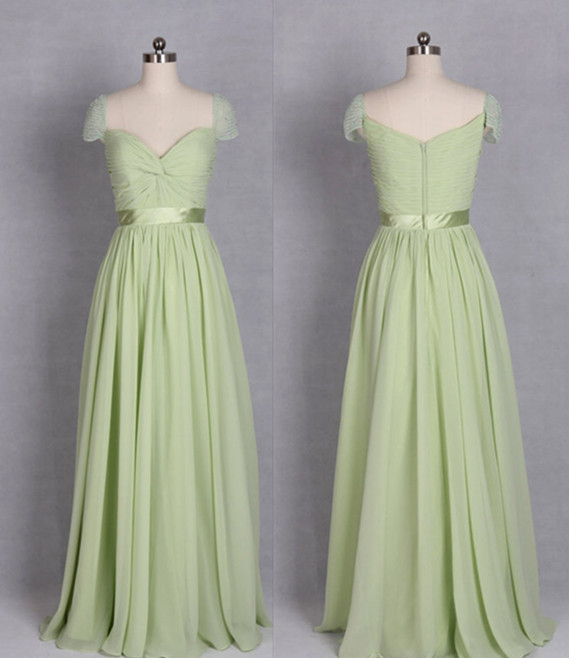 Y Sage Green Chiffon Bridesmaid Dress Floor Length A Line Zipper Cap Sleeve Dresses Long Prom Party Evening Gown