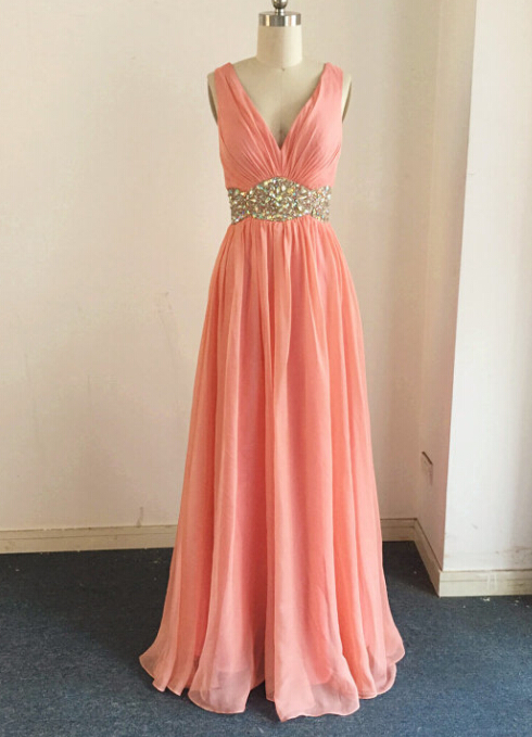 b53faccbc0d5 Sexy Coral Bridesmaid Dress,Floor Length A Line Coral Bridesmaid ...